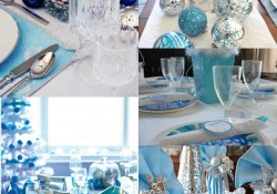 decoration de table noel bleue