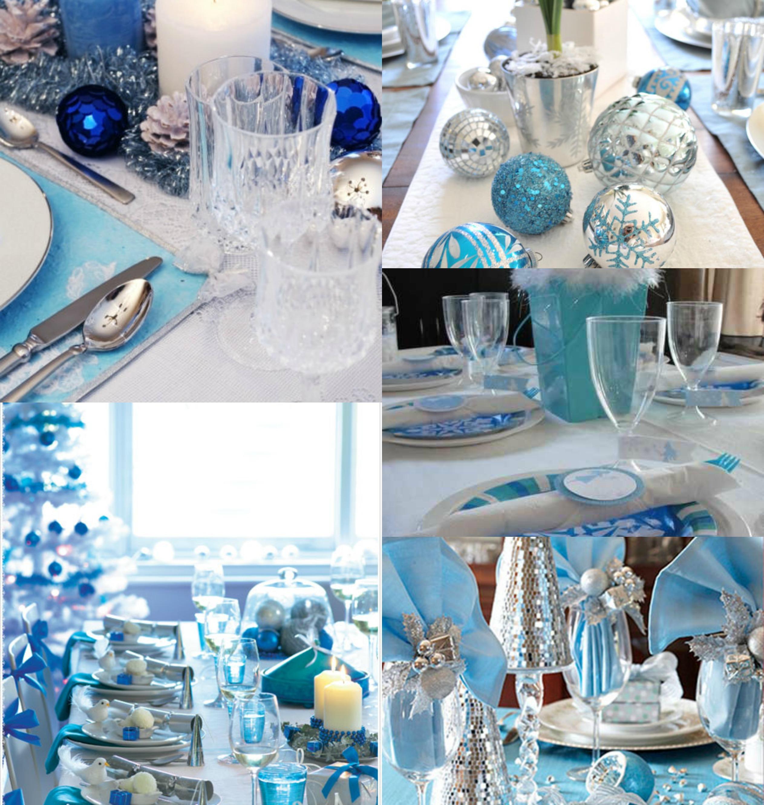 decoration de table noel bleue